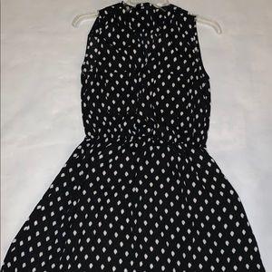 H&M button up black & white polka dot dress